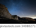 Night on the Alps under starry sky 34080271