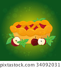 Apple pie and Apples - vector cartoon illustration 34092031