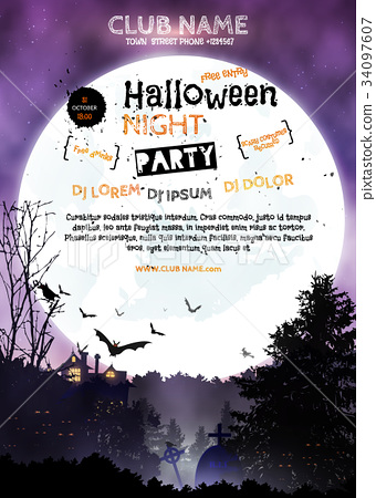 Vertical poster Halloween night party 34097607