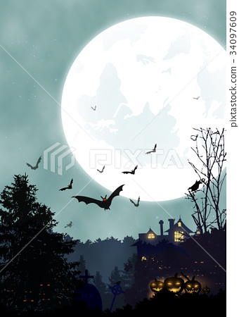 Halloween vertical background. Vertical poster 34097609