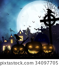 Halloween background. Poster template. 34097705