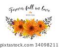 Vector floral card design. Autumn bright orange ge 34098211