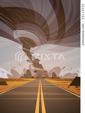 Twisting Tornado Over High Road Hurricane 34113330