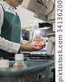 銷售員在超級收銀機手掃描產品 34136200