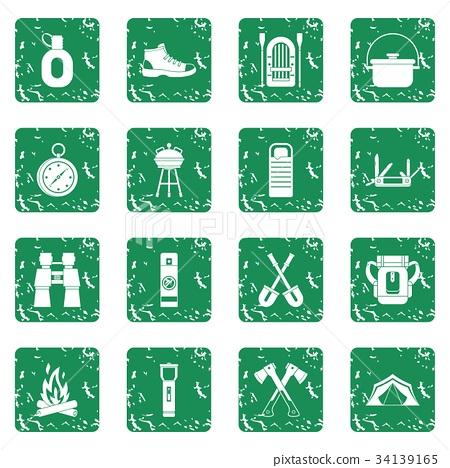 Recreation tourism icons set grunge 34139165
