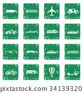 Transportation icons set grunge 34139320