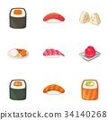 Japanese food icons set, cartoon style 34140268
