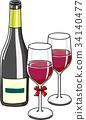 와인, 잔, 벡터 34140477