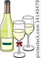 화이트 와인 병 및 유리 34140479