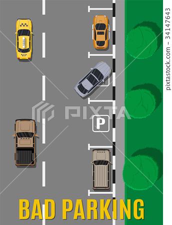 Bad or wrong car parking. 34147643