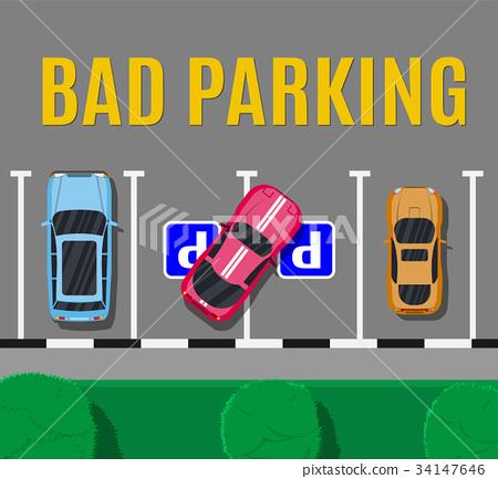 Bad or wrong car parking. 34147646