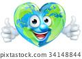 Earth Heart Mascot Cartoon Character 34148844