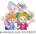 Cartoon Kids and Grandparents 34148845