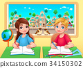 Young students boy and girl in the classroom 34150302