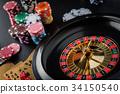 Roulette wheel gambling in a casino table. 34150540