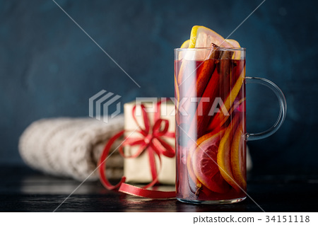 Wine with spices in Christmas composition 34151118