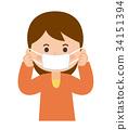 마스크를하는 여성 34151394