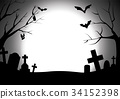 Happy halloween graveyard silhouette background 34152398