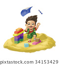 Little boy in a sand pit 34153429
