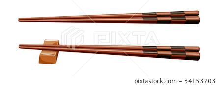 Chopsticks 20 round chopsticks Ichimatsu 34153703