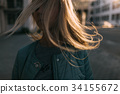 Girl portrait with windy hair in motion closeup 34155672