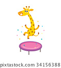 vector flat giraffe jumping on trampoline 34156388