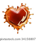 Heart from cola splash with bubbles isolated on 34156807