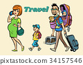 Caucasian family travelers, mom dad and kids 34157546