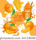 Ice Cream With Peach Taste Dessert Colorful Poster 34158686