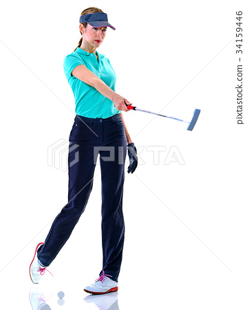 woman golfer golfing isolated 34159446