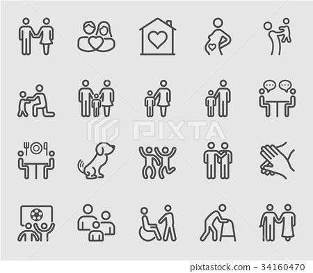 Family relation line icon 34160470