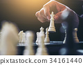 Close up of hands confident businessman colleagues playing chess 34161440