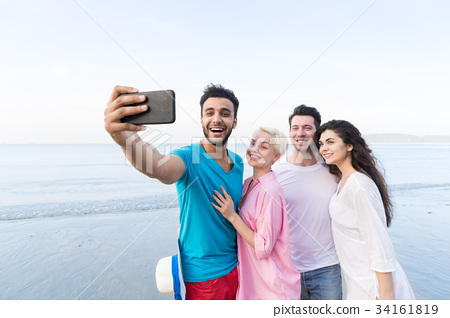 Young People Group On Beach Taking Selfie Photo On 34161819