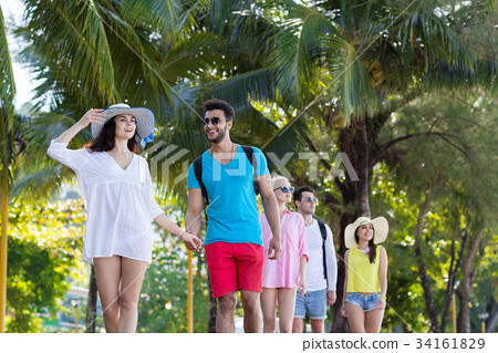Young People Group Tropical Park Palm Trees 34161829