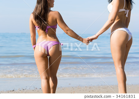 Girl Couple On Beach Summer Vacation, Young Woman 34161831