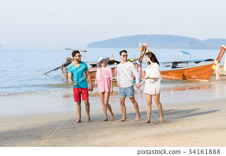 Young People Group On Beach Summer Vacation, Happy 34161888