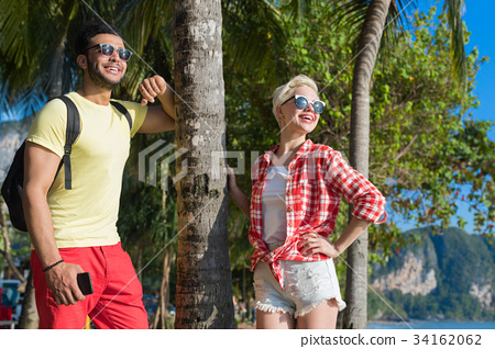 Couple On Tropical Beach Palm Trees Summer Sea 34162062