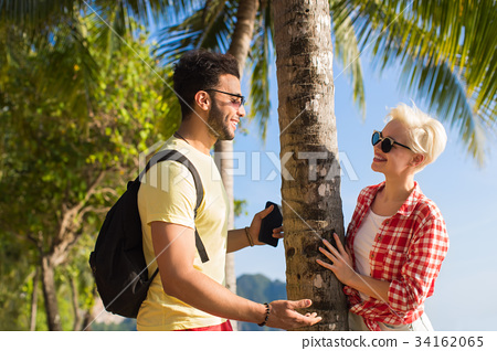 Couple On Tropical Beach Palm Trees Summer Sea 34162065