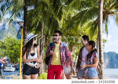 Young People Group Tropical Beach Palm Trees 34162096