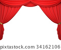 Open red curtains on white background. 34162106