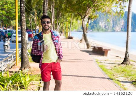 Young Hispanic Man Walking Tropical Beach Sea 34162126