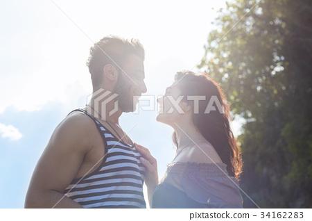 Couple Happy Smiling Blue Sky Sunshine, Beautiful 34162283