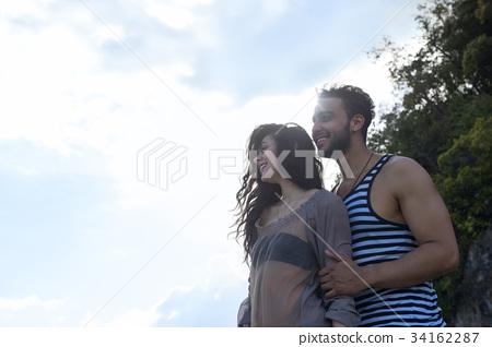 Couple Happy Smiling Blue Sky Sunshine, Beautiful 34162287