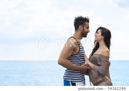 Couple On Beach Summer Vacation, Beautiful Young 34162289