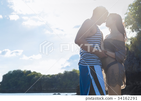 Couple Happy Smiling Blue Sky Sunshine, Beautiful 34162291