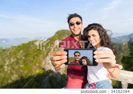 Young Couple Mountain View Point Happy Smiling Man 34162394