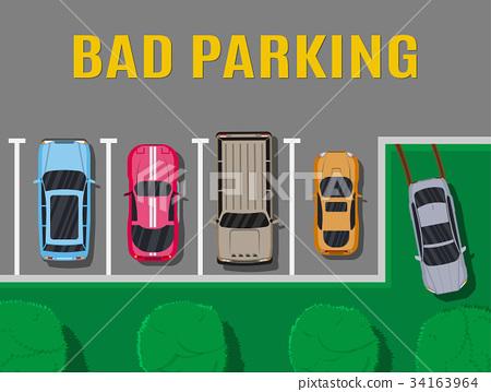 Bad or wrong car parking. 34163964