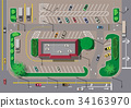 Fast food cafe restaurant and parking for cars. 34163970