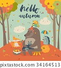 Hello autumn background with cute animals 34164513