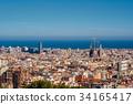 Barcelona cityscape overlook 34165417